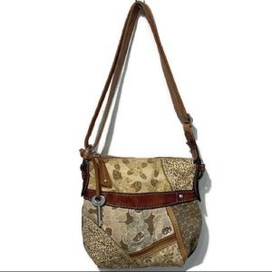 FOSSIL FLORAL CANVASS LEATHER CROSSBODY PURSE